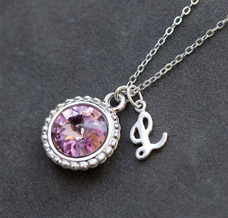 June Birthstone Necklace Personalized Initial Jewelry  c0bf555c0502