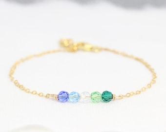 Birthstone Bracelet for mom, Jewelry, Christmas Gift for Mom, Mothers Bracelet, Grandma Gift, 14kt Gold Fill, Sterling Silver or Rose Gold