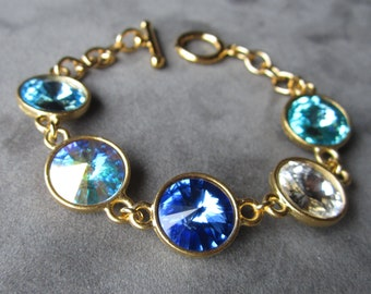 Mother's Jewelry, Crystal Birthstone Bracelet, Grandmother's Bracelet, Custom Personalized Jewelry, Mother's Bracelet