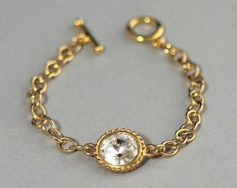 Swarovski Crystal Birthstone Bracelet, Birthstone Jewelry, Gold April Birthstone, Clear Crystal Jewelry