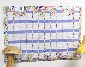 SALE Large 2018 Wall Calendar And Year Planner - Kitchen wall planner 2018 - Cooking year wall planner - Foodie Gift - Food planner - Veggie