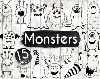 Monster Clipart - 15 Hand Drawn Monster Cliparts - Monster svg - Monster Logo Elements - Monster Illustration - ACGABW79