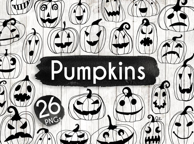 Halloween Pumpkin Clipart Black And White.Halloween Pumpkin Clipart Hand Drawn Halloween Clip Art Jack O Lantern Clipart Halloween Invitation Party Spooky Creepy Bw156