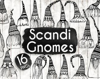 Christmas Scandi Gnomes Clipart - Tomte Clipart - Christmas Planner Stickers - Christmas Scandi Clipart - Tomte Vector art - BW138