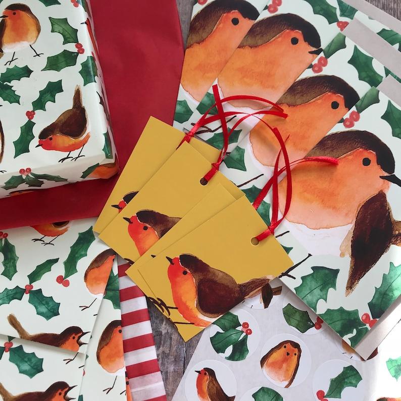 Holly Gift Wrap Christmas Robin Redbreast Christmas Robins MEGA Wrap Kit Christmas Holly Robin Woodland Wrap