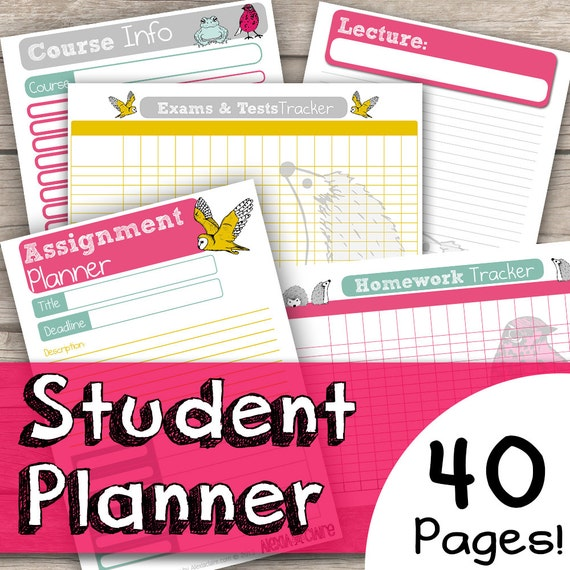 image regarding Printable Student Planner Download known as Scholar Planner Printable - University student Planner Obtain - Educational Planner - University Planner Printable - Quick College Planner Printable