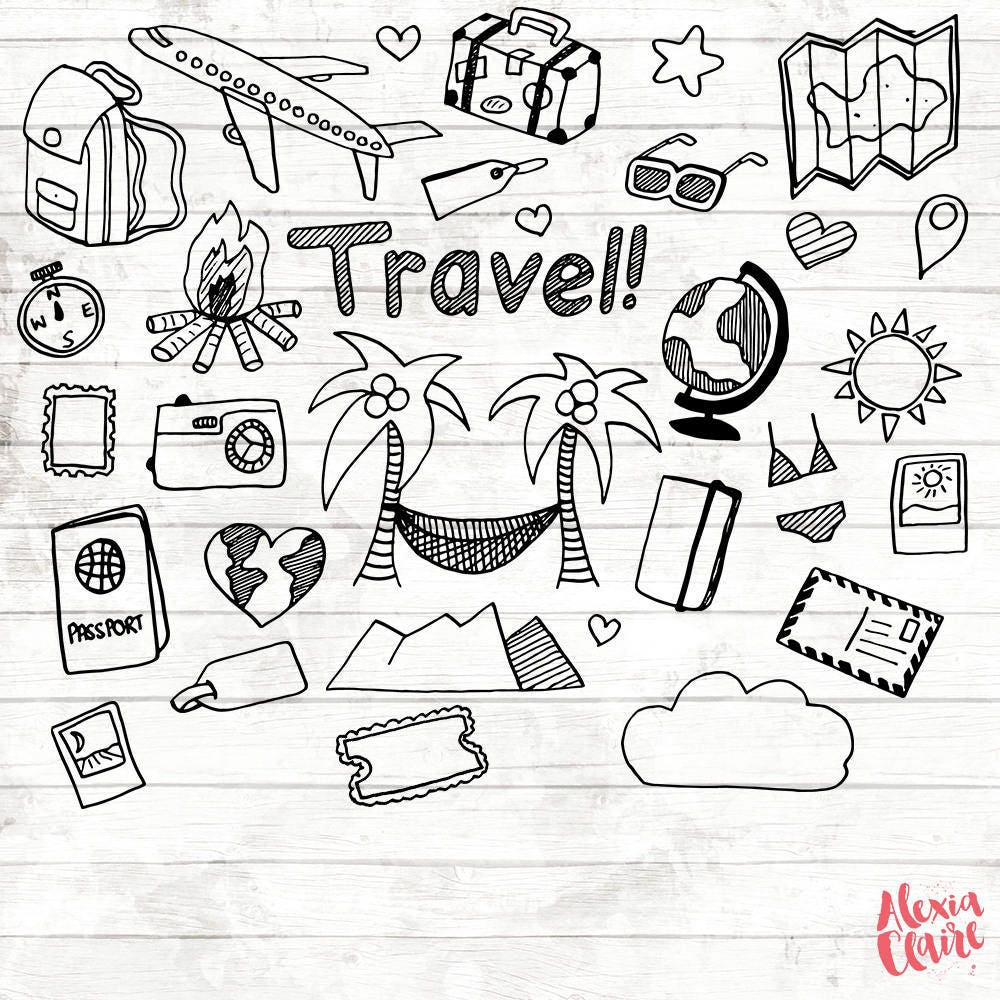 4f5f4158be0eb Travel Clipart 17 Hand Drawn Vacation PNG Travel planner