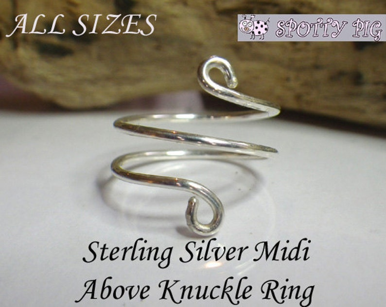 STERLING SILVER  925 Midi Ring, Adjustable, Above Over Knuckle