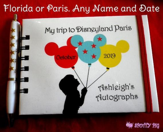 Personalised Autograph Book Disneyland or Disney World Balloons Pocket Size