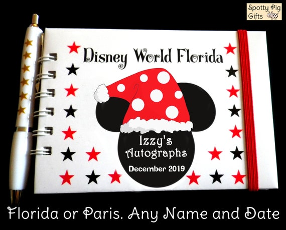 Christmas Minnie Mouse Disneyland.Personalised Christmas Minnie Mouse Autograph Book Disneyland Or Disney World Pocket Size Paris Or Florida Christmas Gift
