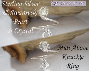 STERLING SILVER .925 Midi Ring, Adjustable, SWAROVSKI Crystal or Pearl Above Over Knuckle