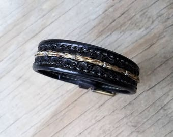 """Horse Hair Leather Bracelet with Brass Buckle - 3/4"""" Horsehair Cuff"""