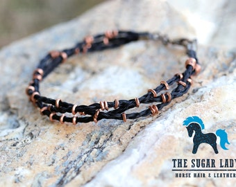 Horse Hair and African Copper Beaded Bracelet - Horsehair Bracelet - Horse Hair Jewelry - Copper Bracelet - Horse Lover