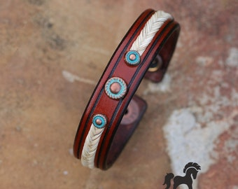 Horse Hair and Leather Bracelet With Copper and Turquoise Accents - Southwestern Flair - Horse Hair Bracelet - Horsehair Jewelry