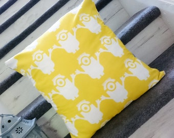 Minions yellow despicable me print Pillow Cushion Cover Upcycled Eco