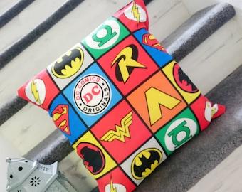 DC comic character logos square windows characterlogos multi cushion covers