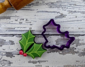 Holly with Berries Cookie Cutter and Fondant Cutter and Clay Cutter