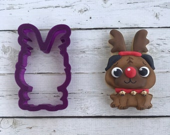 Pug with Antlers or Reindeer Cookie Cutter or Fondant Cutter and Clay Cutter