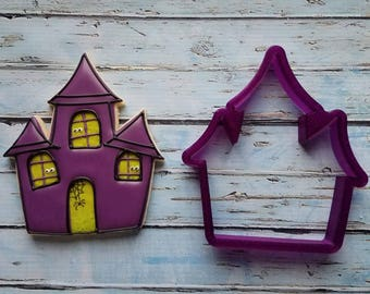 Haunted House or Creepy House Cookie Cutter or Fondant Cutter and Clay Cutter