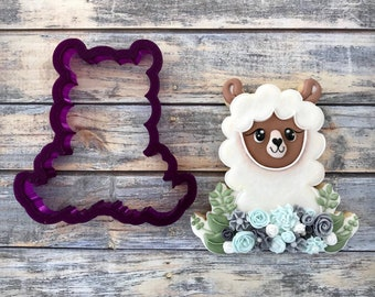Llama with Flower or Floral Llama Cookie Cutter and Fondant Cutter and Clay Cutter