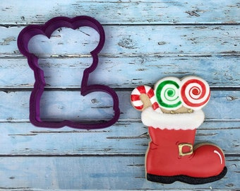 Santa Boot filled with Candy or Toys Cookie Cutter and Fondant Cutter and Clay Cutter
