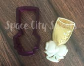 Wine or Champagne Glass with Bow Cookie Cutter and Fondant Cutter and Clay Cutter