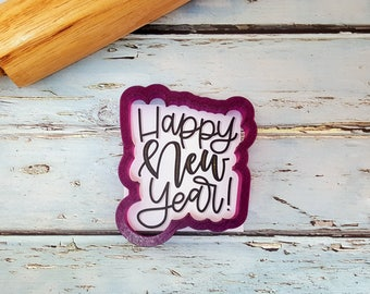 Happy New Year Lettered Cookie Cutter and Fondant Cutter and Clay Cutter with Optional Stencil