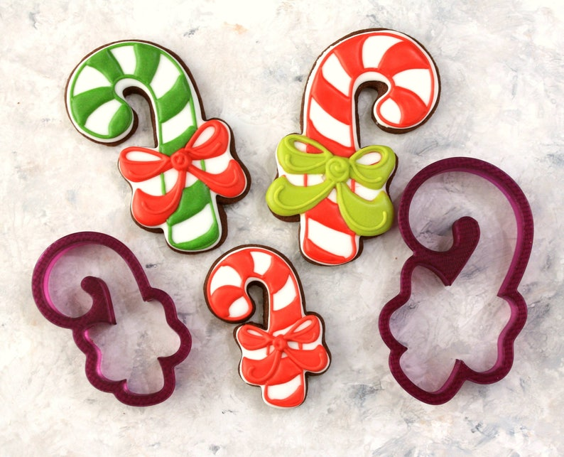 Lilaloa Candy Cane With A Bow Cookie Cutter Or Fondant Cutter Etsy