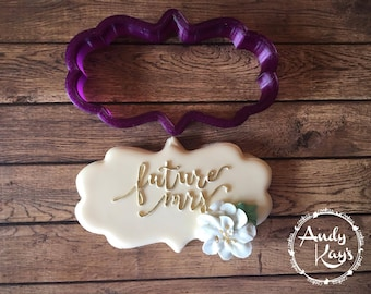 Angelica #1 Plaque Cookie Cutter or Fondant Cutter and Clay Cutter