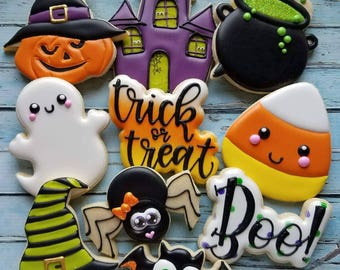 Set of 10 Halloween Cookie Cutters and Fondant Cutters and Clay Cutters with Optional Stencils