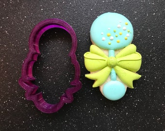 Miss Doughmestic Baby Rattle #2 with Bow Cookie Cutter and Fondant Cutter and Clay Cutter