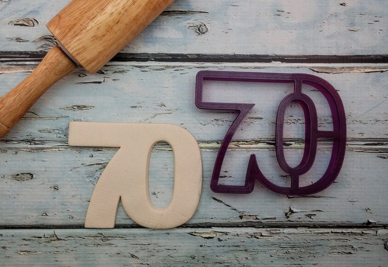 70 Seventy Seventieth Cookie Cutter and Fondant Cutter and image 0