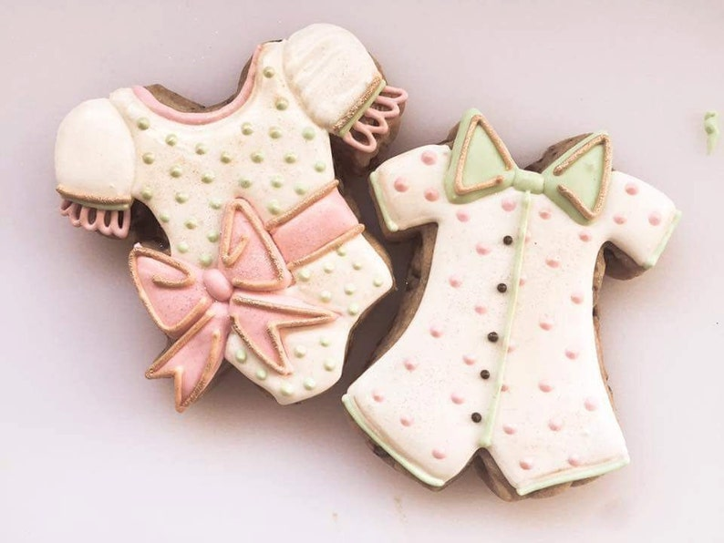 Miss Doughmestic Baby GIRL Onesie with Bow Cookie Cutter and image 0