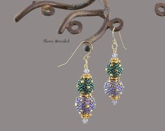 Mardi Gras Beaded Bead Earrings by Sharri Moroshok