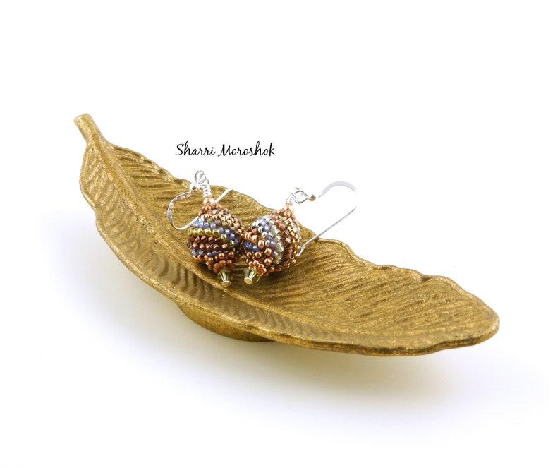 SALE Copper Beaded Bead Earrings