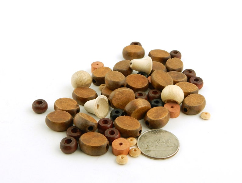 50g Wood Bead Assortment brown and natural