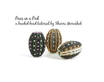 Peas in a Pod - a beaded bead tutorial by Sharri Moroshok