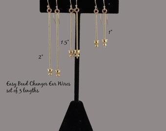 Easy Bead Changer Ear Wires - gold changeable earrings