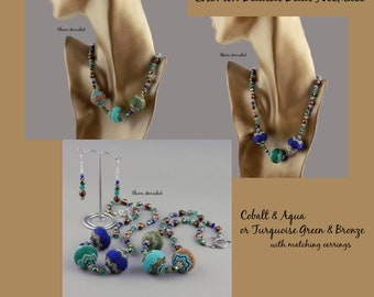 Chevron Beaded Bead Necklace and Earrings set