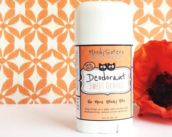 Baking soda free Sweet Orange Organic Deodorant - Natural Vegan Deodorant -  Organic Citrus Natural Deodorant