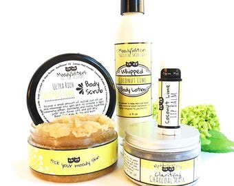 Sublime Coconut - Skincare Gift Set for Awesome Women, Moms, Teens - Coconut Lime - Fun beach hippie natural skincare Gift Set for women