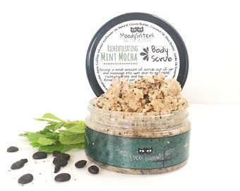 Mint Mocha Body Scrub - Made with Coffee Infused Oil and Organic Sugar for thighs, butt and legs
