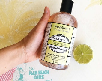 Coconut Lime Shampoo, Body Wash, & Shaving Soap - 3 in 1 Natural Wash, Shave and Shampoo