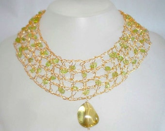 Gold lace necklace, citrine pendant, 18k Gold filled Crochet Necklace Wedding natural Green Peridot Lemon Citrine jewelry