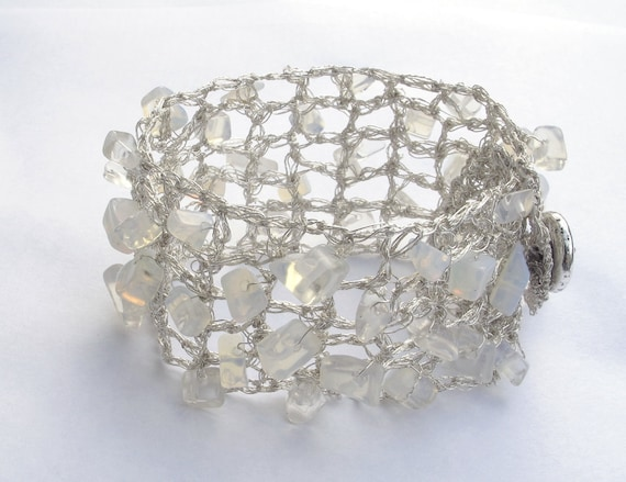 Crochet Knitted Silver Wire Bracelet with Moonstone Summer