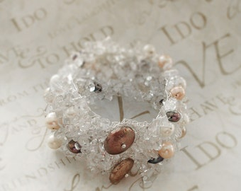 Wedding Bridal Bracelet, White Real Pearls, Crocheted Lace, Silver birthstone jewelry, Fashion Accessories Bridesmaids