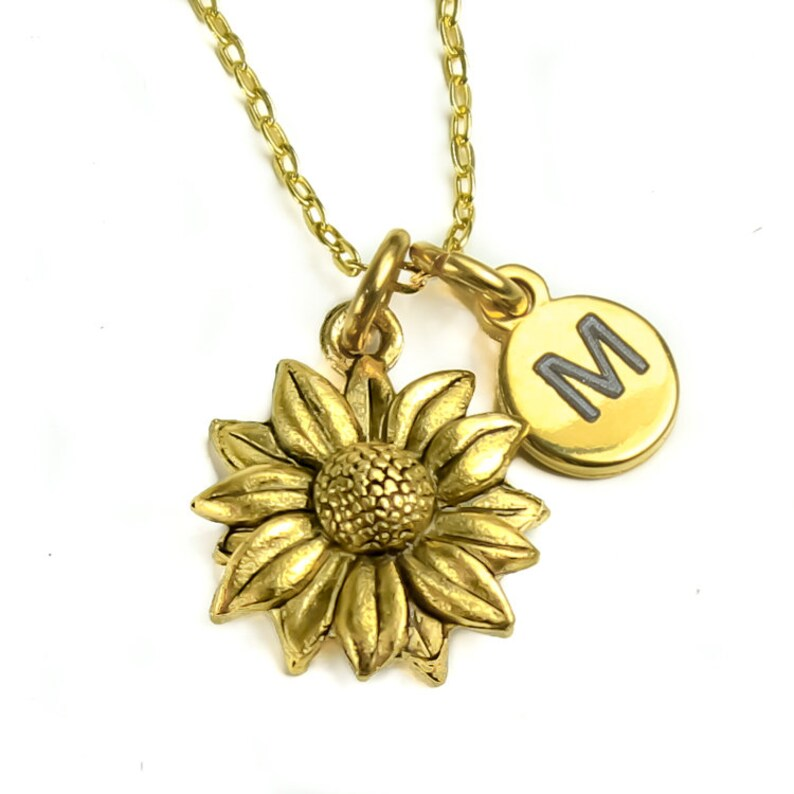 Personalized Pendant Gold sunflower necklace Monogram initial charm sunflower charm FREE gift box Antique Gold daisy flower necklace