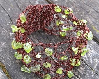 Copper, Brown, Rustic green peridot Bracelet, boho Wedding Bracelet Hand Crochet Lace  Romantic bridesmaids Peridot gift Green gemstone