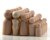 Wood Peg Dolls - Ten Families of Five - 50 Paint Your Own Wooden Peg People
