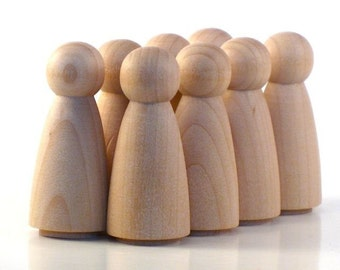 Wooden Peg Dolls - Octuplet Girls - Paint Your Own Wood Dolls